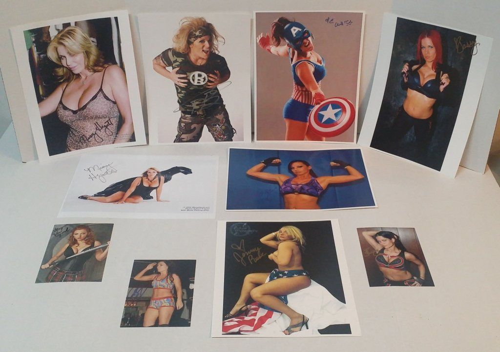 9 Autographed Women of Wrestling