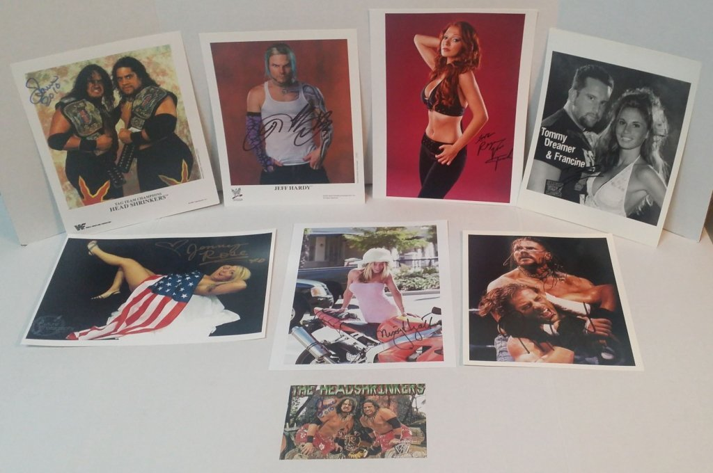 Lot of 8 Autographed Wrestling Photos