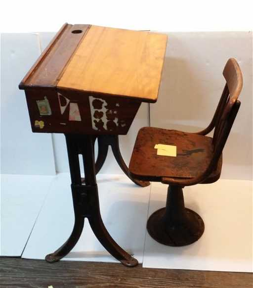 - Kenny Bros & Wolkins Antique School Desk And Chair