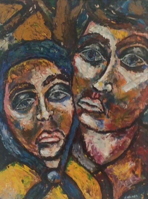 "Marlene Weiner oil on Canvas "" Faces """