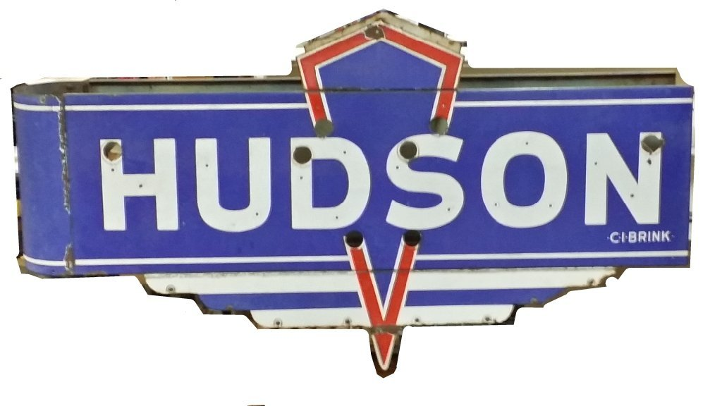 R.I. NY Large 2-Sided Antique Oval Hudson Car Sign