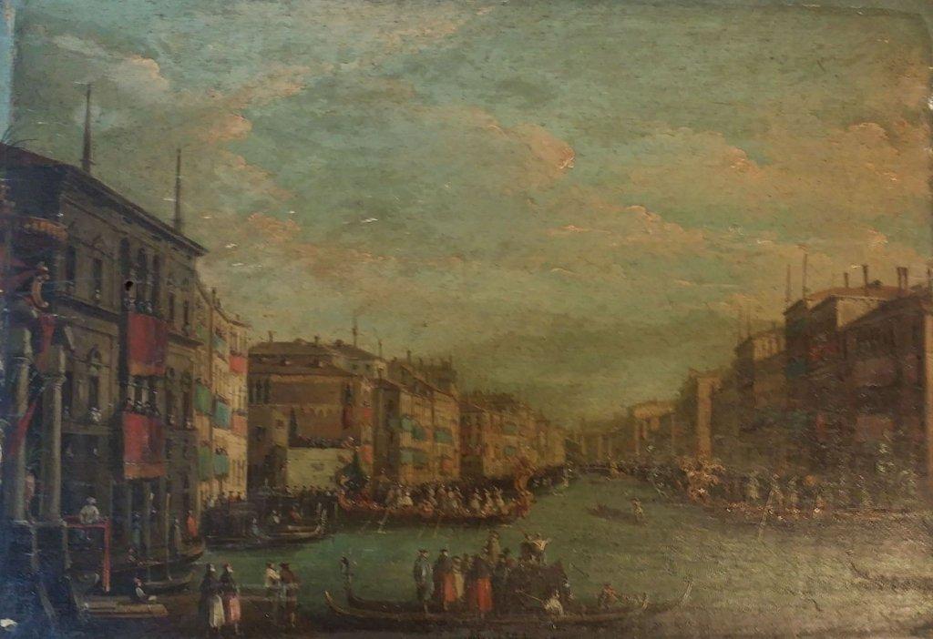 Oil on panel antique Venetian scene