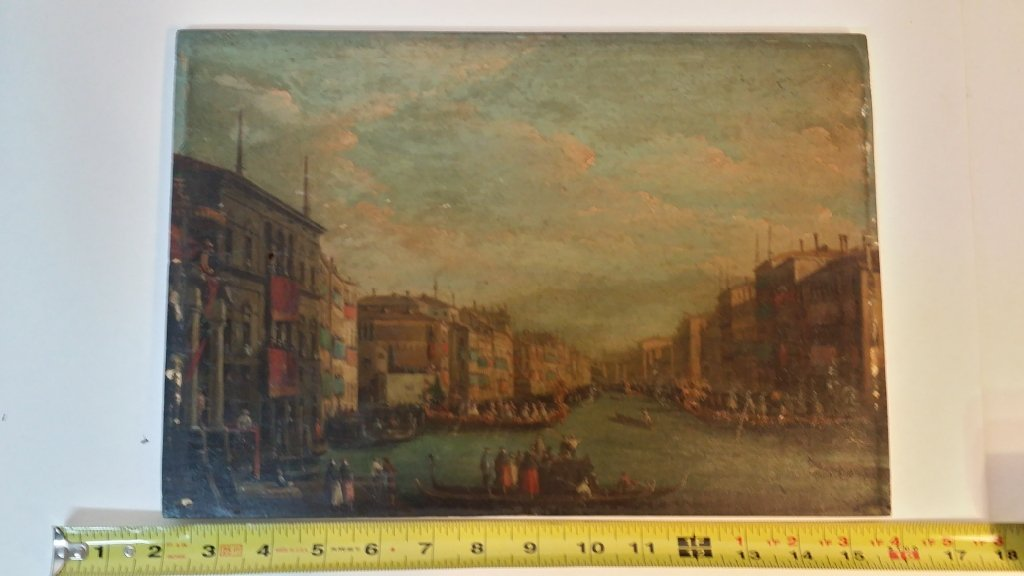 Oil on panel antique Venetian scene - 3
