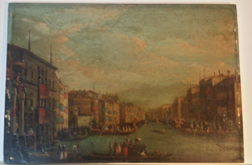 Oil on panel antique Venetian scene - 4