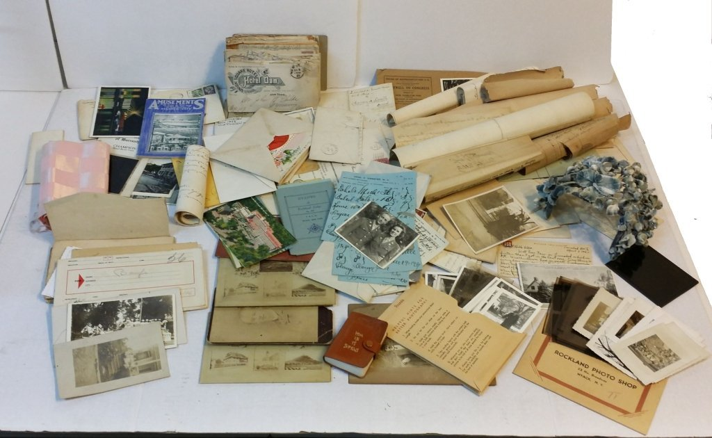 Lot of antique papers, photographs, etc.