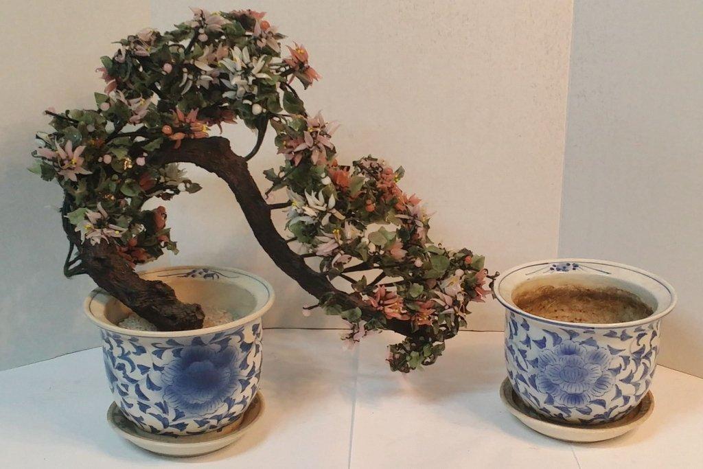 Pair of Chinese planters plus Stone tree