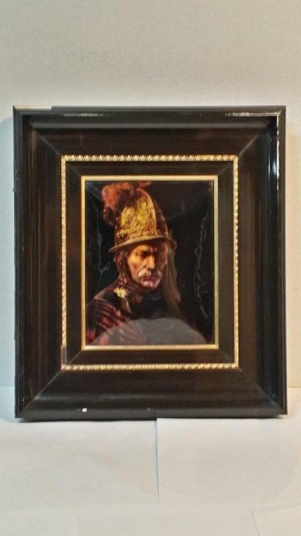 Limoges F. J. Carmona Plaque of a Conquistador
