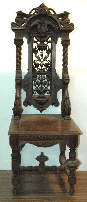 Extremely rare oak renaissance revival chair with