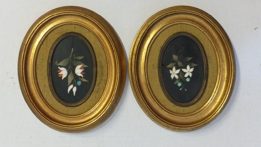 A pair of Pietra Dura plaques, small sized.