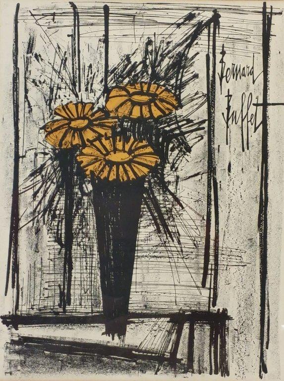 Bernard Buffet lithograph, flowers in vase.