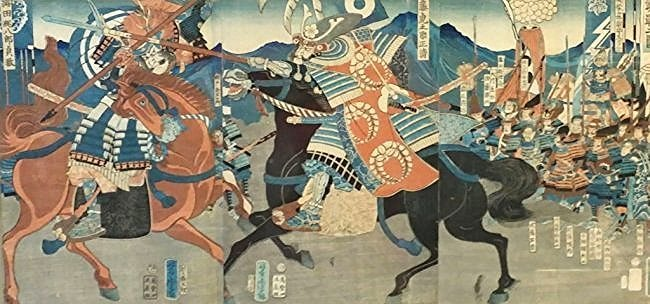 Japanese woodblock triptych antique print