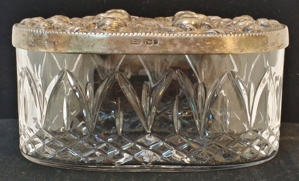 A Portuguese silver and crystal box