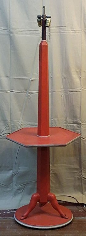 A Red & White painted lamp table with shoe feet