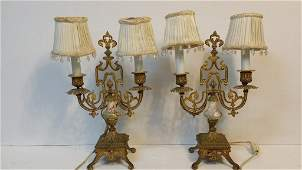 A pair of Brass Boudoir Table Lamps