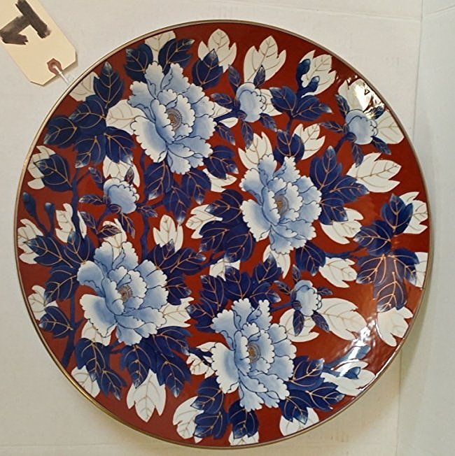Large Asian Hand Painted Blue Peonies Platter