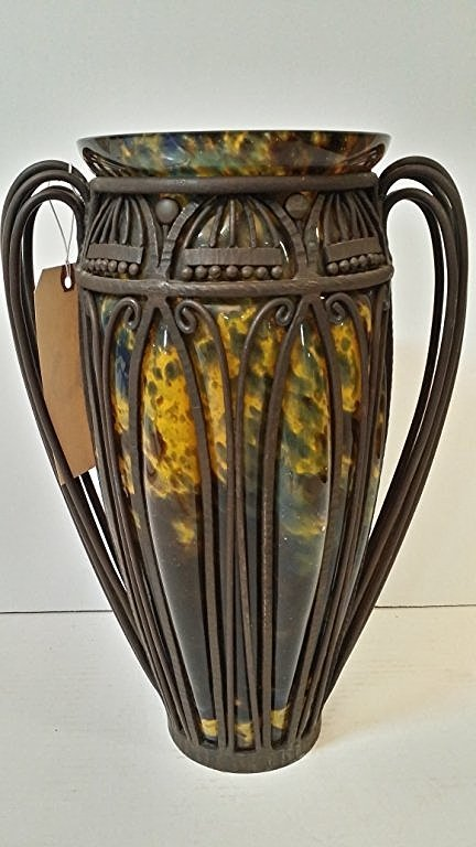 Art Deco Blown Glass Vase with Cast Iron Surround