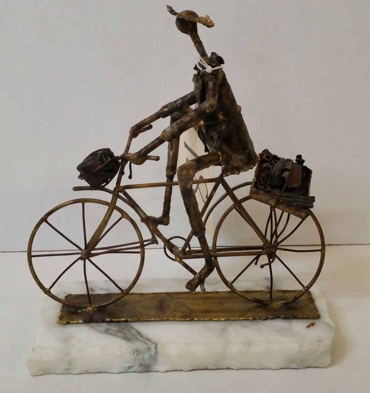 Metal Bicyclist Sculpture, illegibly signed