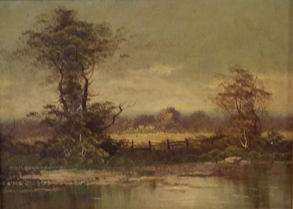 Antique Oil on board painting, signed lower left.