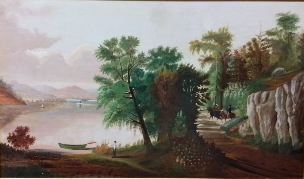 Primitive Oil on Canvas, Riders, horses, lake.