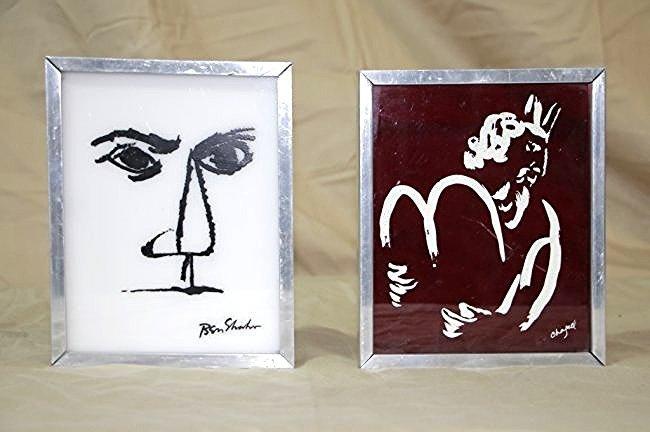Modern Glass Framed Art; Chagall & Ben Shahn