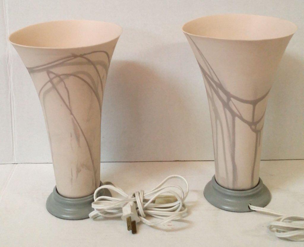 Modern Pair of Ceramic Table Lights, reverse shade