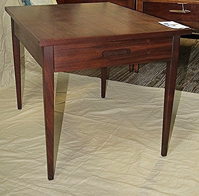 Single Mid Century Walnut side table with drawer