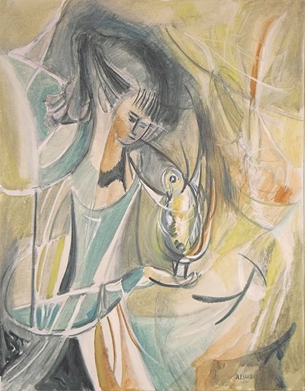 Modern Oil on Canvas signed Alexander '54