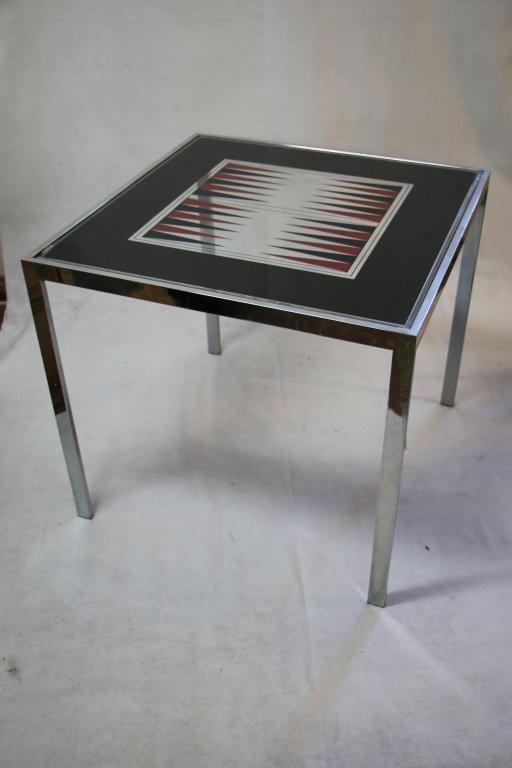 Modern Chrome & Glass Bat Gamin Table