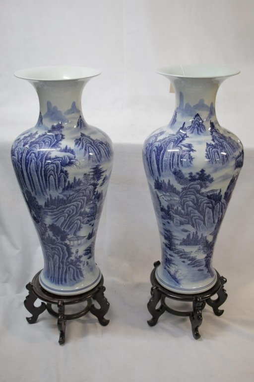 VERY LARGE Blue & White Chinese Vases; Rosewood Stands