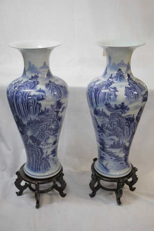 Very Large Blue White Chinese Vases Rosewood Stands