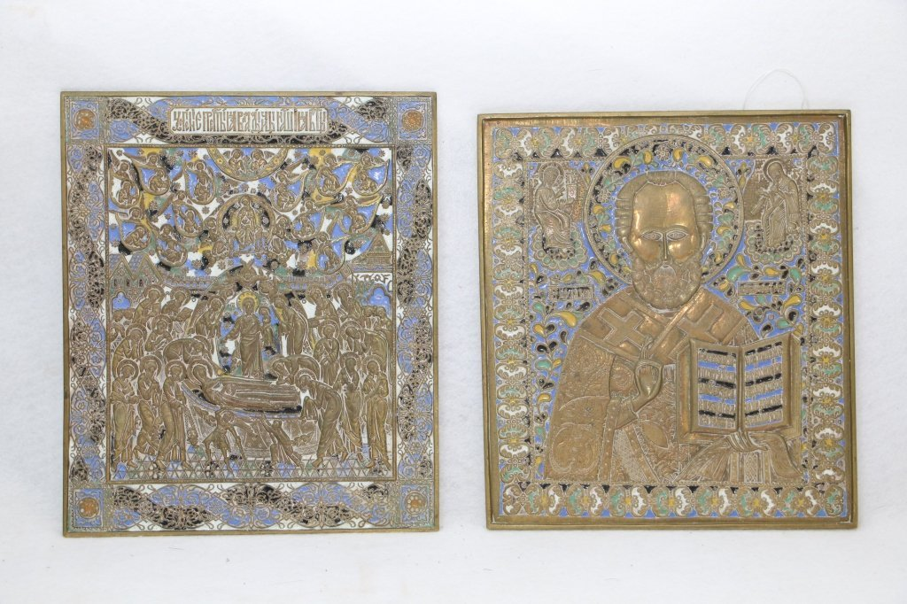 Fine Hand Engraved Painted Russian Religious Icons