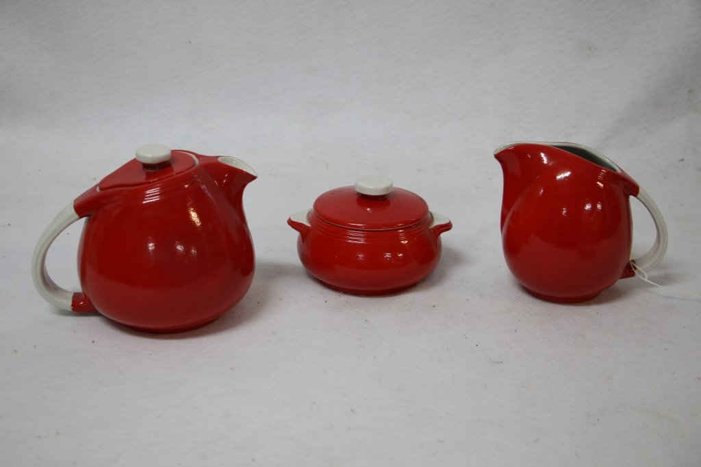 Hall China Art Deco 3 pc tea set