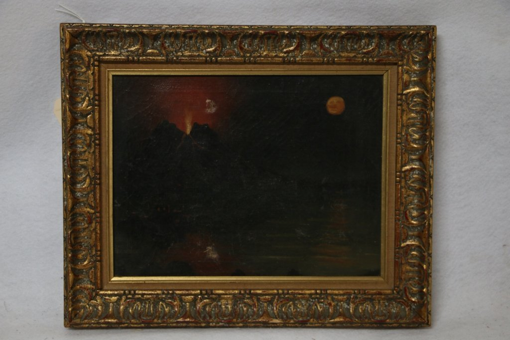 C19th Italian Oil on Canvas Mt. Vesuvius