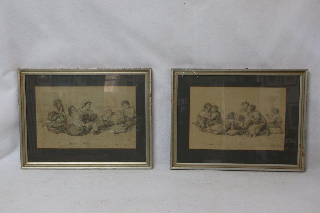 Pair 1820's Italian Pencil Drawings of Children