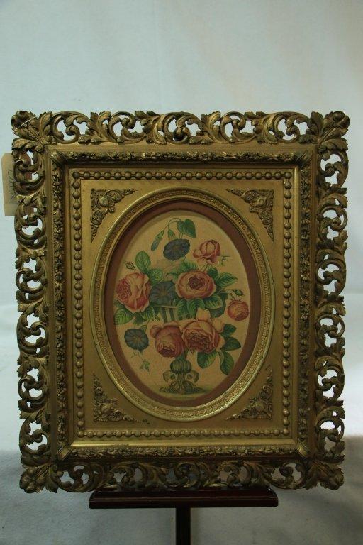 Victorian Flower Water Color in Original Frame