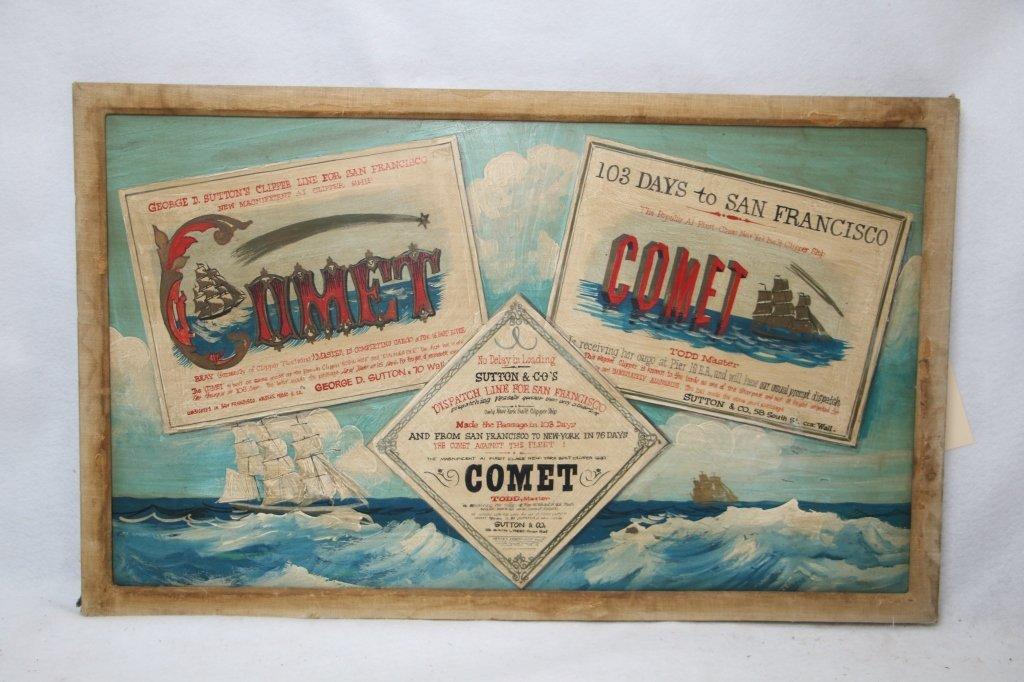 "1940's Oil on Wood Panel Advertisement ""Comet"""