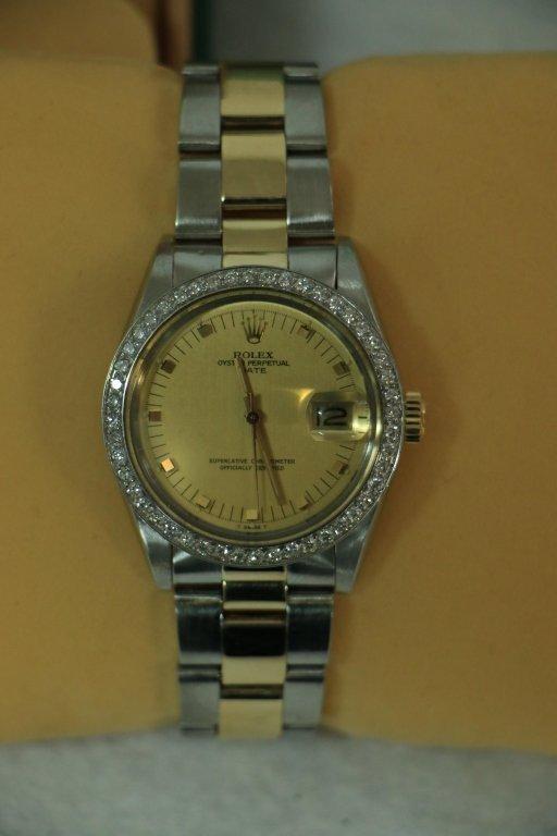 Rolex 2 Tone Oyster Perpetual Date; Diamond Bezel