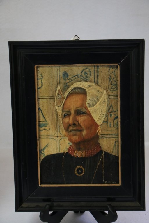 """Oil on Board """"Old Dutch Woman"""" Signed lower right"""