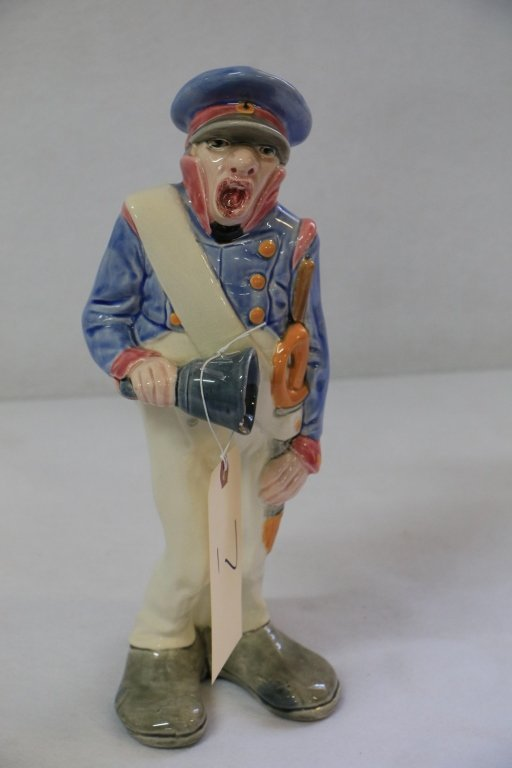 "Sarreguemines ""Bell Guard"" Pottery Figurine"