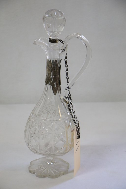 19th C Cut Glass Decanter w/ Silver Accents