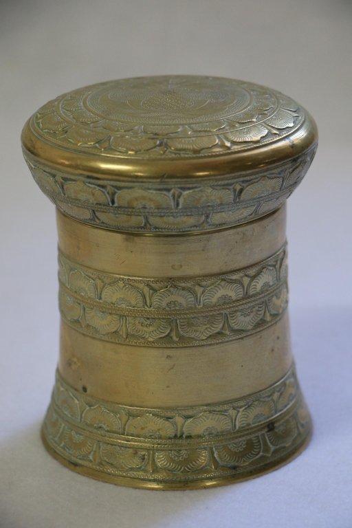 A Fine quality Indonesian (?) brass lidded box
