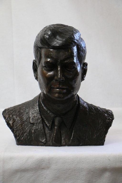 JFK bronze head bust
