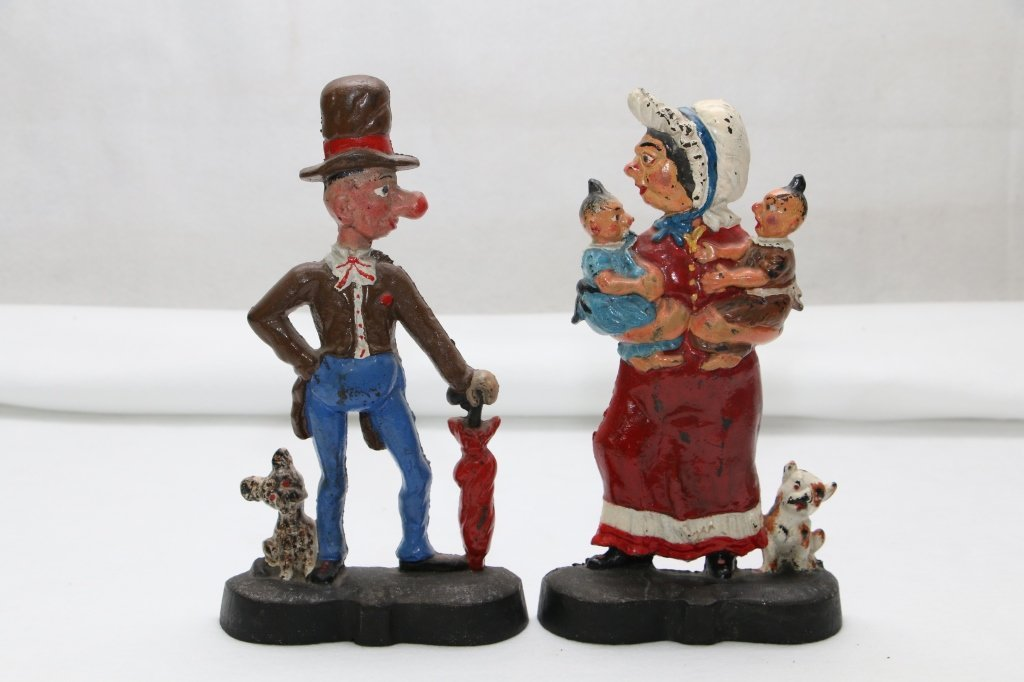 Mr. & Mrs. Ally Sloper Antique Cast Iron Doorstops
