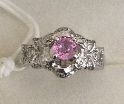 14kt white gold & pink sapphire ring