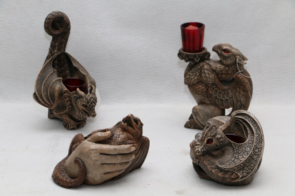 4 Windstone Editions Dragon candle holders