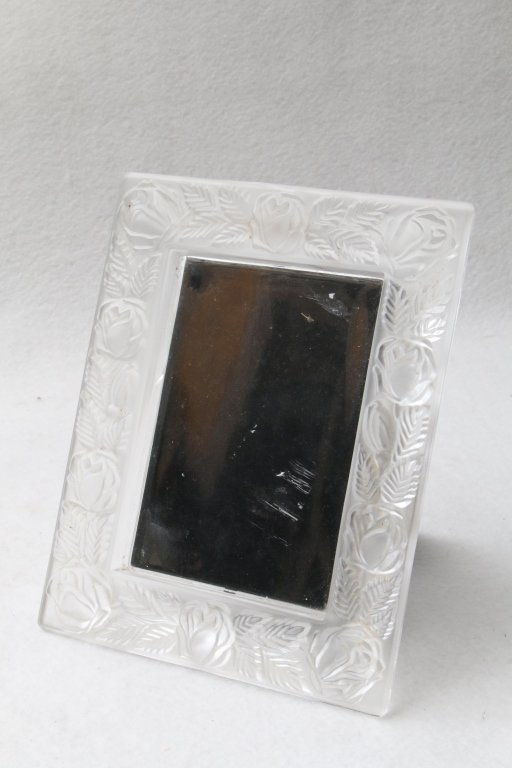 A glass frame with flowers