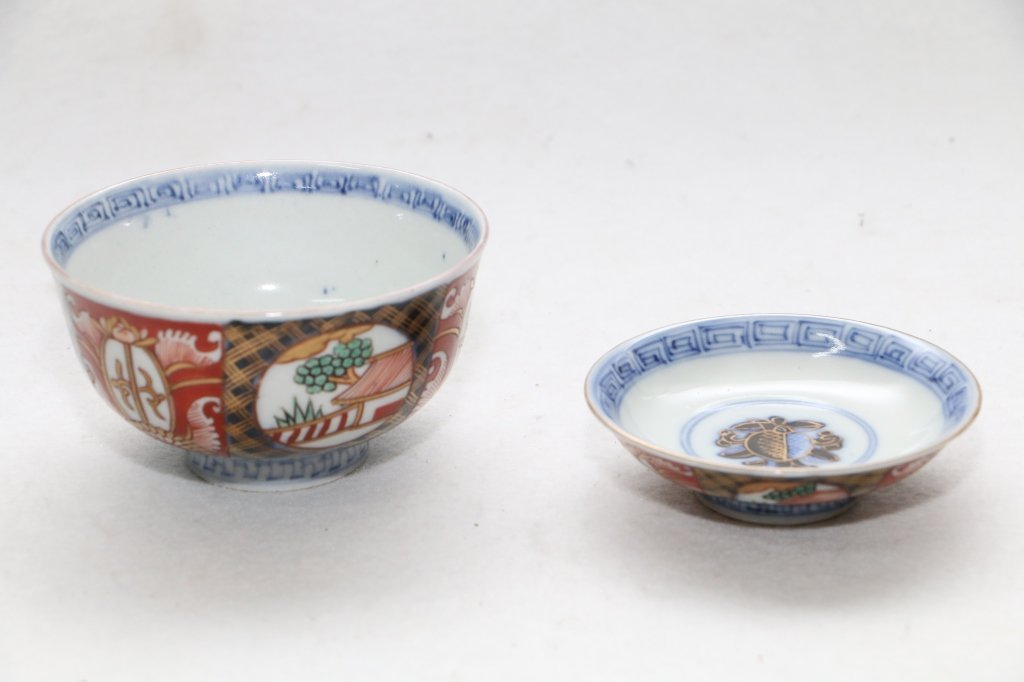 A Chinese pottery bowl and a small bowl