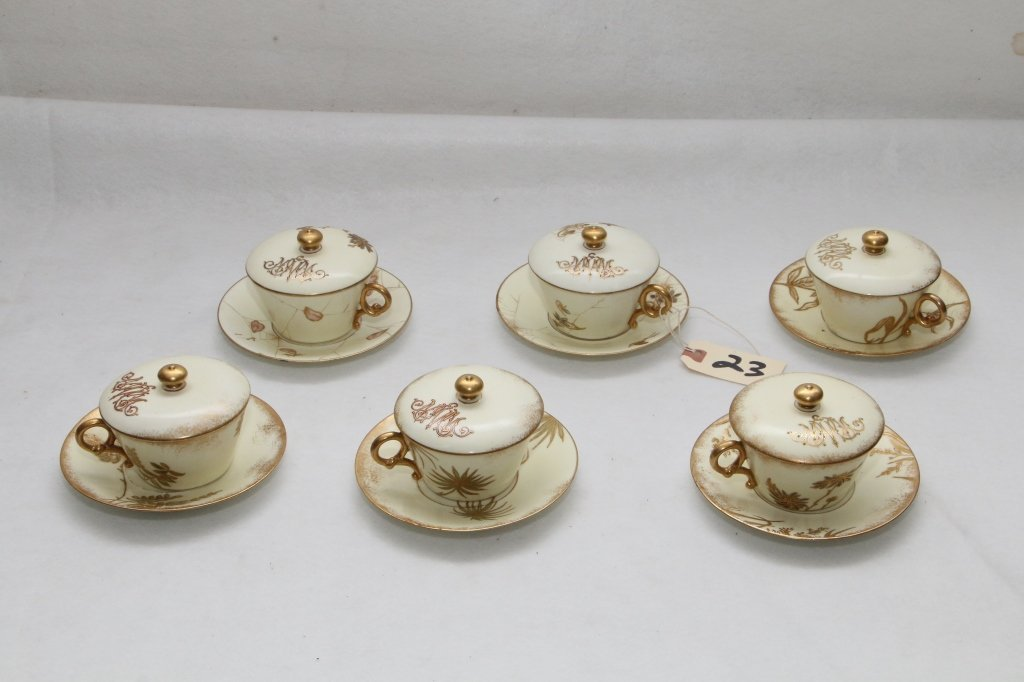 Set of 6 Brownfield Covered Cups and Saucers