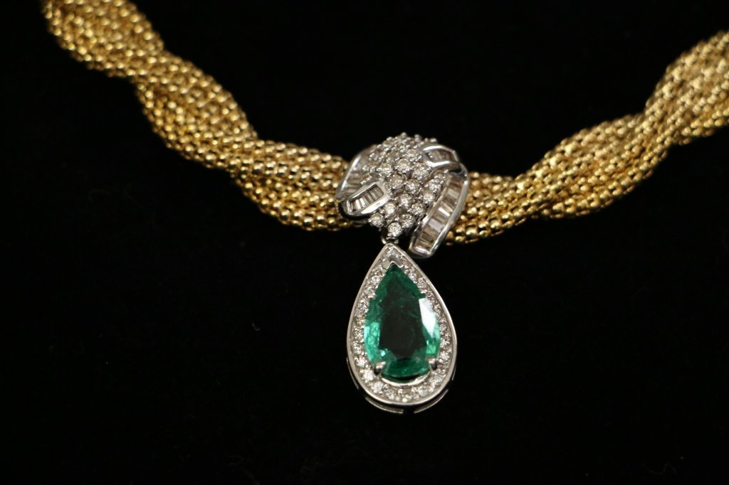14k gold 4.5 Natural Emerald And 3ct Diamond Neckl