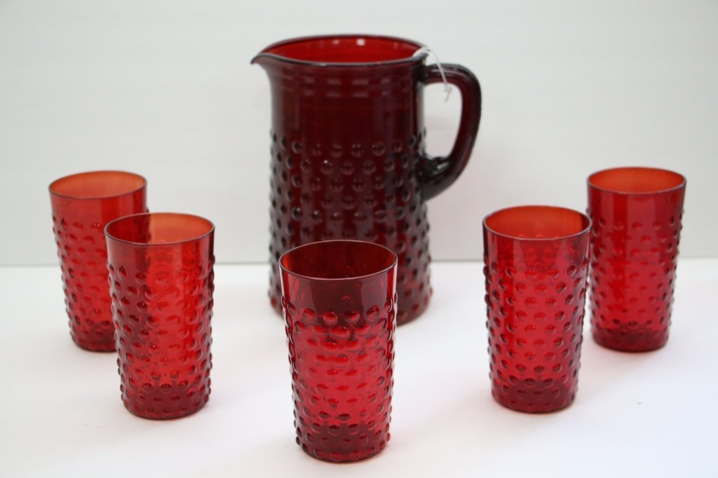 Vintage Red Bubble Glass Water Pitcher & 5 Glasses